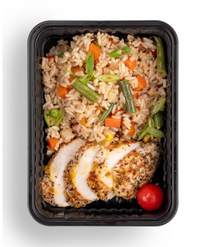 Рис по азиатски с куриным филе
